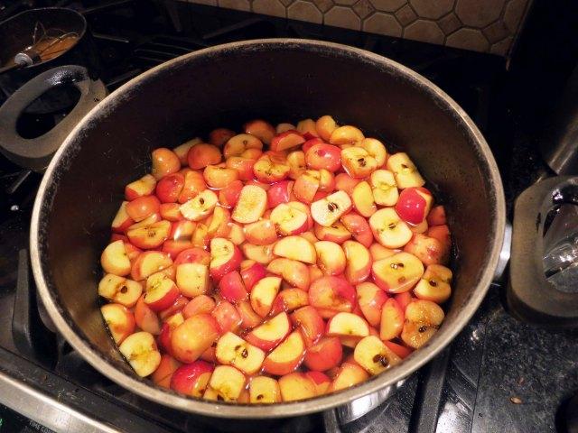 crabapple jelly pot
